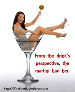 Young Brunette Woman in a Martini Glass isolated on a white background