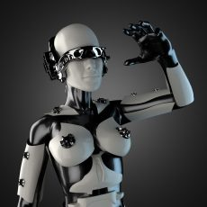 31075440 - woman cyborg of steel and white plastic